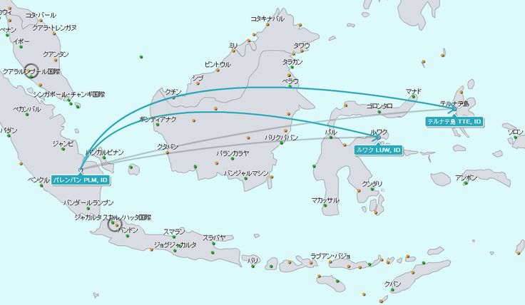 パレンバン空港からのフライト地図