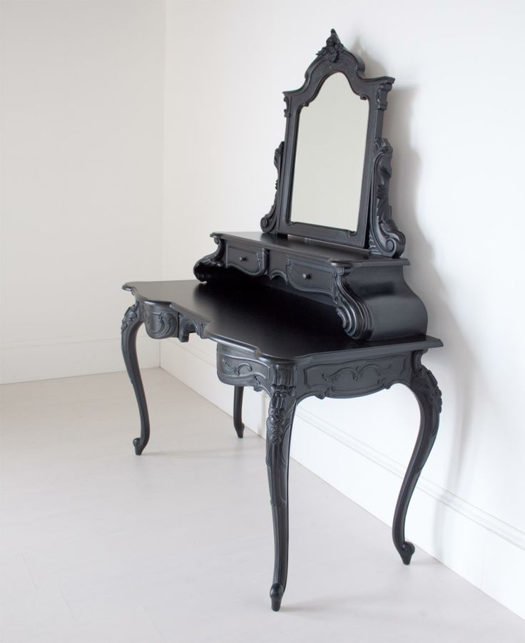 Large French Black Dressing Table with Mirror