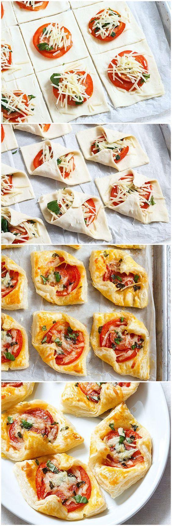 Pepperoni Basil Tomato Puffs