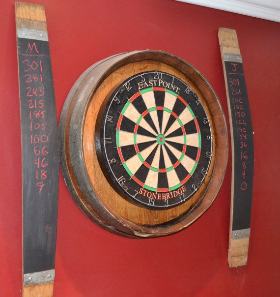 This is my cousins site. Great things he has available. Wine barrel head dart board kit with 2 chalkboard by WineyGuys, $199.00