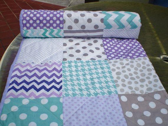 teal, lavender and aqua toddler/lap quilt