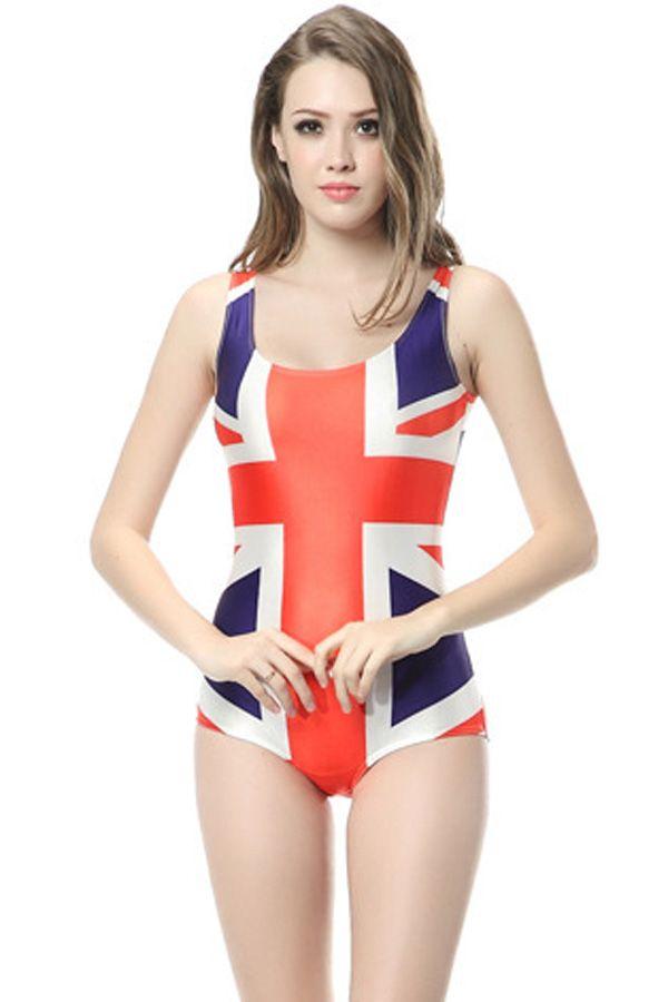 Red White One-piece Union Jack Pattern Bodysuit Swimsuit #Red #Swimsuit #maykool