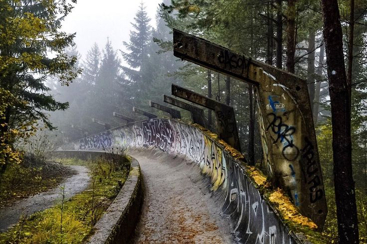 The bobsled track from the 1984 Winter Olympics on a foggy October day in Sarajevo Bosnia & Herzegovina (OC) [1620 x 1080]