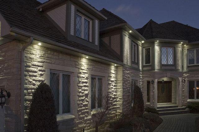 Exterior recessed lighting.