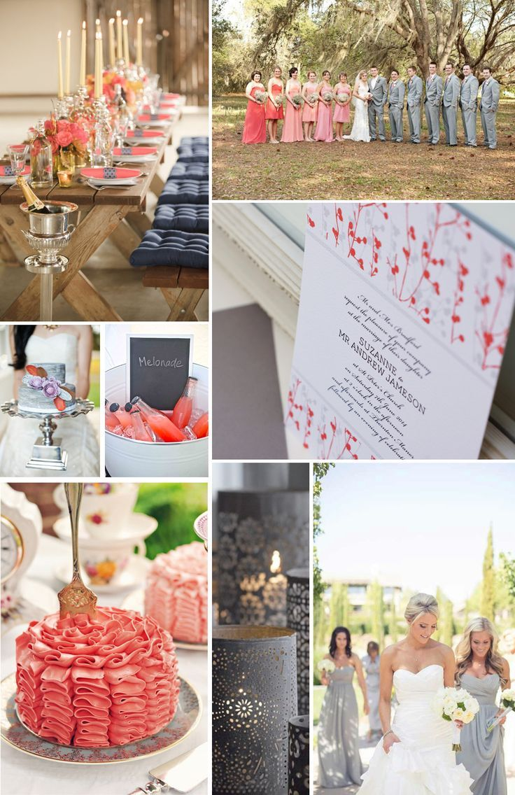 Coral and Grey Wedding