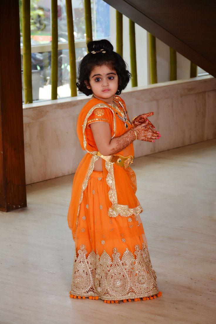 Ridhima# pretty in orange lehenga#kids Indian wear