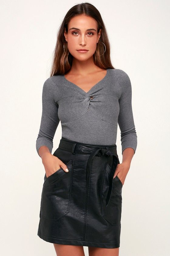 9780bc0a589 Stroll the cobblestone streets in style with the Trip to Tribeca Black Vegan  Leather Belted Mini Skirt! Cute A-line mini skirt with high waist and belt.