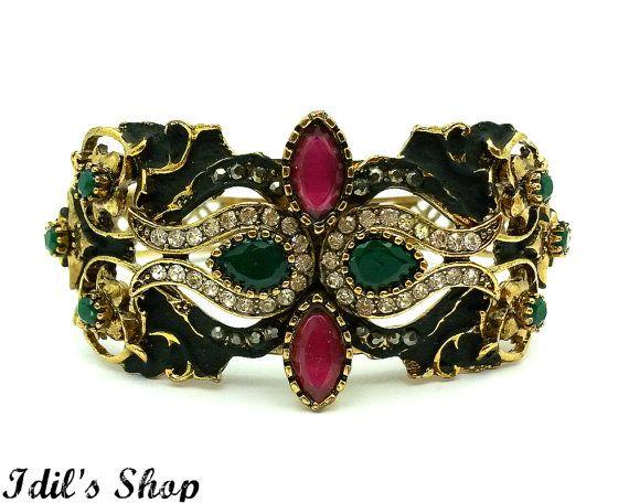 Turkish Ottoman Style Bronze Bracelet Friendship Cuff Bracelet by IdilsShop