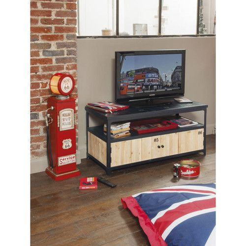 ROUTE 66 metal and wood CD rack and lamp in red H 95cm