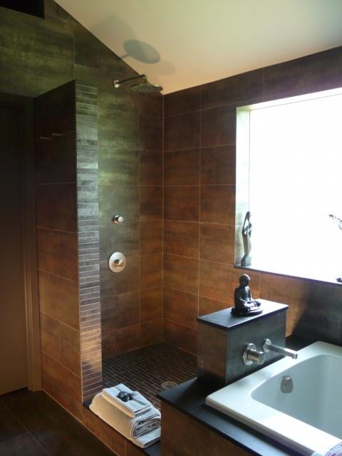 Open shower idea master bedroom walk in closet pinterest - Open shower bathroom design ...