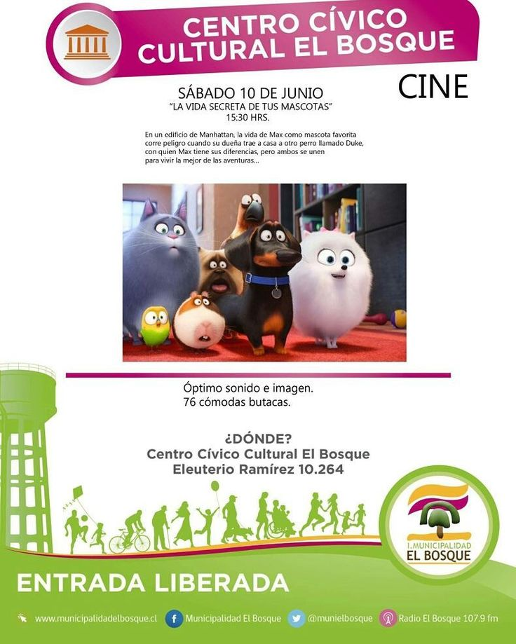 "Hoy 15.30 hrs ""La vida secreta de tus mascotas"" en el Centro Cívico Cultural El Bosque. ENTRADA LIBERADA"