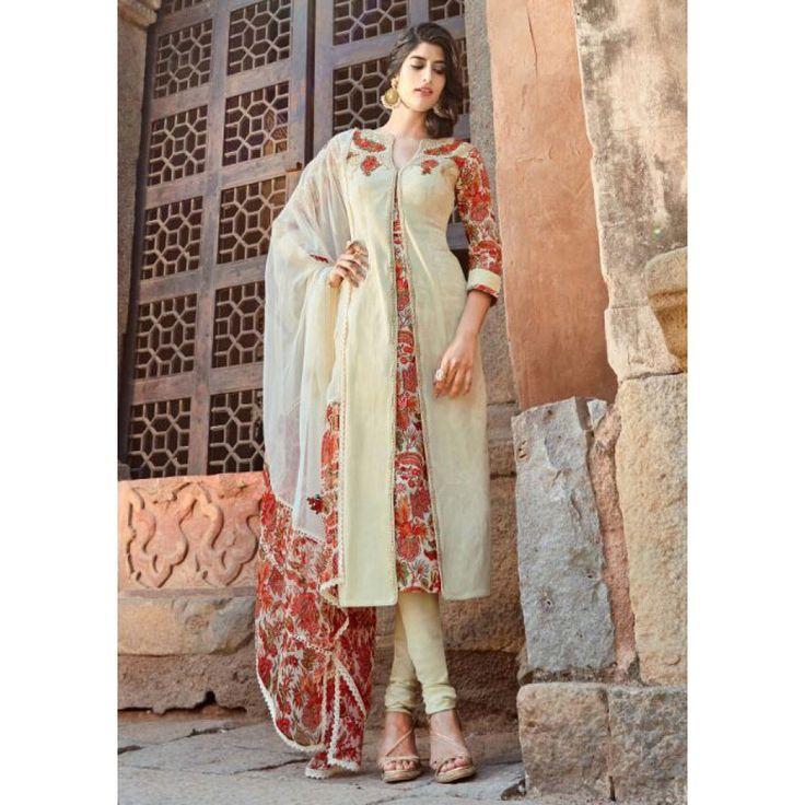Beige Cotton Festival #Churidar Kameez With Dupatta- $45.84