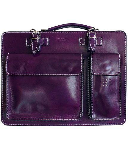 Ladies Purple Leather Briefcase/Work Bag