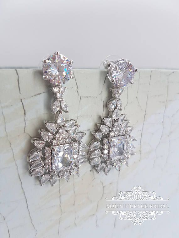 Bridal earrings, cz bridal earrings, wedding earrings, rose gold earrings, bridal jewelry, chandelier earrings, Gold Earrings, cz drop earrings, drop zircon earrings, luxury earrings, regal earrings, bridesmaids gift, gold zircon earrings LILA