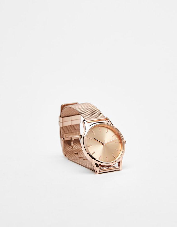 Relógio Mesh com esfera metálica €15,99