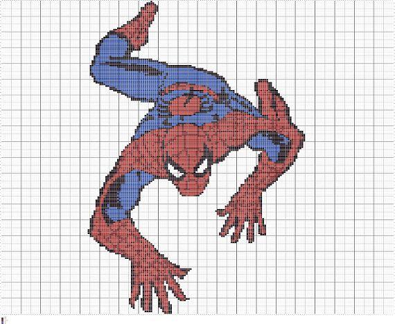 Knitting Pattern Spiderman Toy : Knit Spiderman Chart Intarsia Knitting Graph by ...