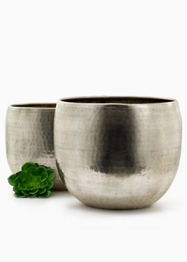 9 1/2in And 11in Hammered Antiqued Silver Planters
