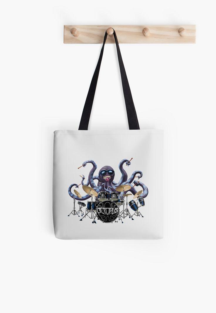 Rocktopus Tote Bag #totebag #purse #artisttotebag #octopus #rocktopus #drums #drummer #rockband