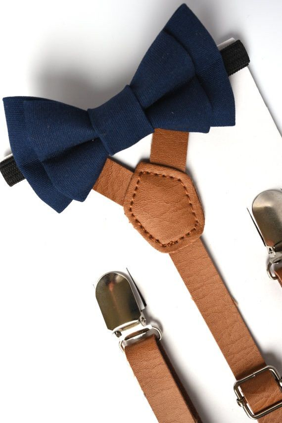 Navy Blue Bow Tie and Light Brown Pu Leather Suspender Set - Newborn - Adult Sizes