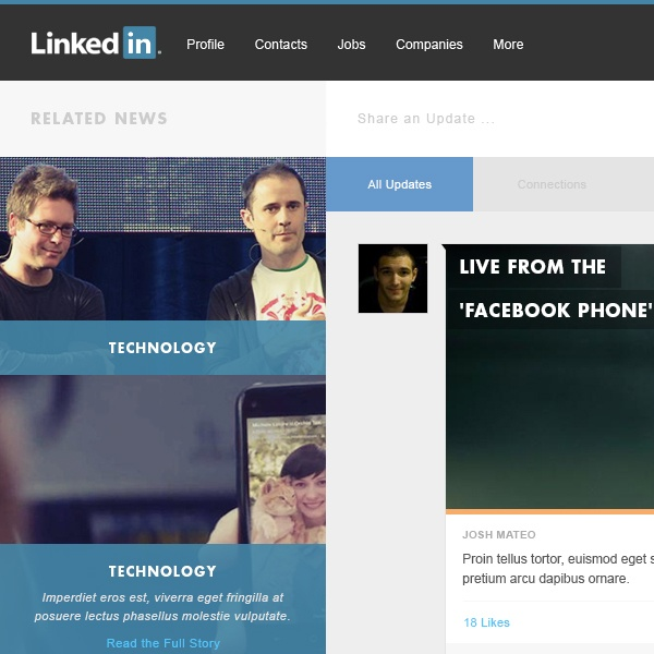 LinkedIn Redesign by Josh Mateo, via Behance