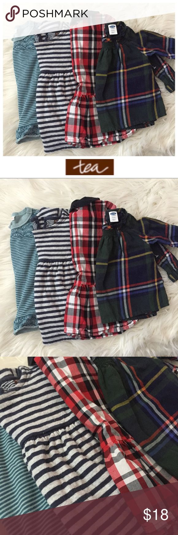 Baby Girl Holiday Bundle (Size 3-6m) Holiday bundle of 4 used dresses and tunics that are adorable with basic leggings! All size 3-6m.  🎀 Naartje Kids ruffle tunic; 🎀 Tea Collection striped tunic; 🎀 Baby Gap plaid with Peter Pan collar; 🎀 Old Navy classic big square plaid  No splitting bundles, please — my price accounts for you not liking an item or two I picked! Bundle to save even more — I have tons of kids clothes and my closet's meant to be bundled! Hope you enjoy ♥️🎀 Tea…
