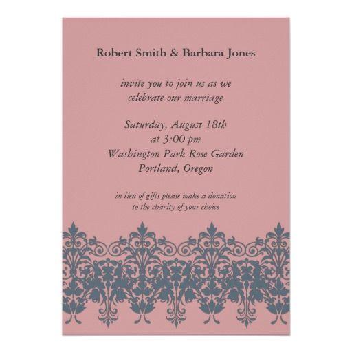 Blue Coral Wedding Invitation Pink Invite