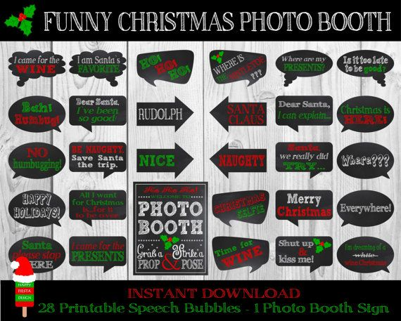Funny Christmas Photo Booth PropsSet Of 29 by HappyFiestaDesign