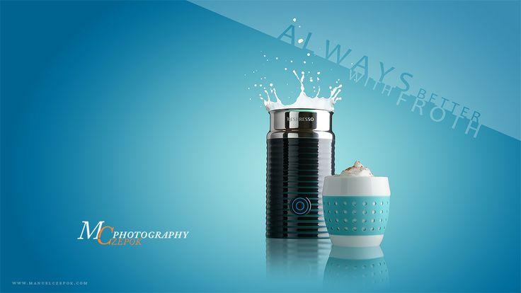 Froth it the Clooney way #Nespresso #Aeroccino #product #photography #milk #splash #canonnz