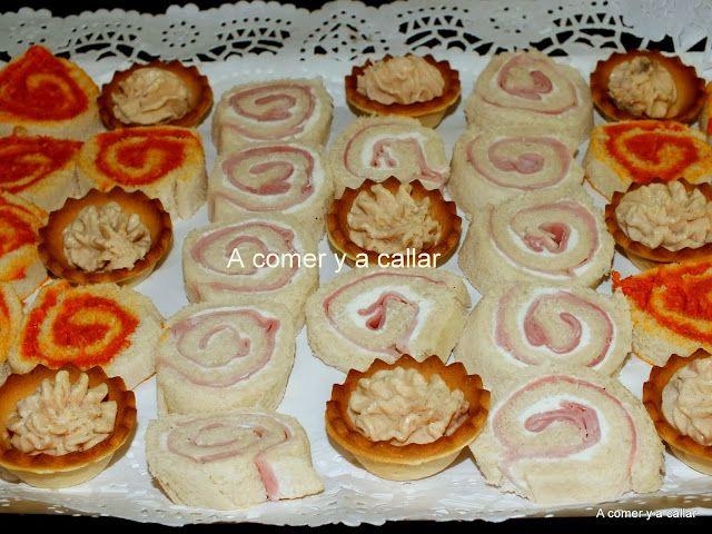 A comer y a callar canapes de pan de molde espirales for Recetas para canape