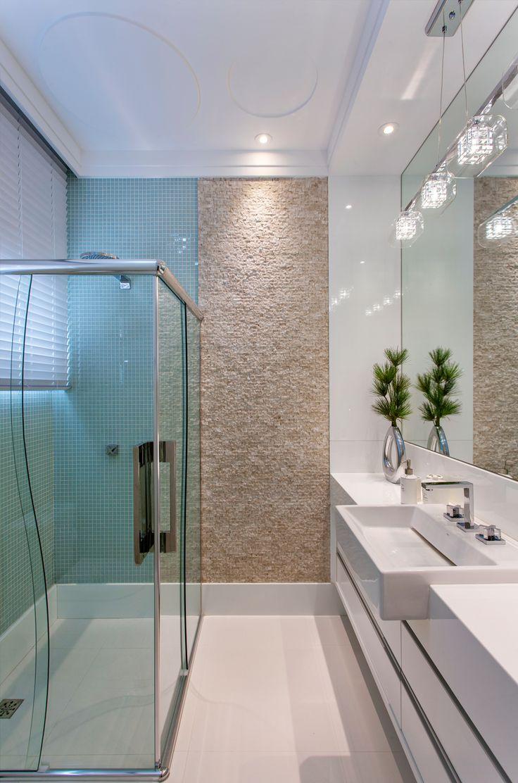 Banheiro, Pedra, Cuba Semi Encaixe, Box, Bancada Estreita, Armário, Branco, Bege
