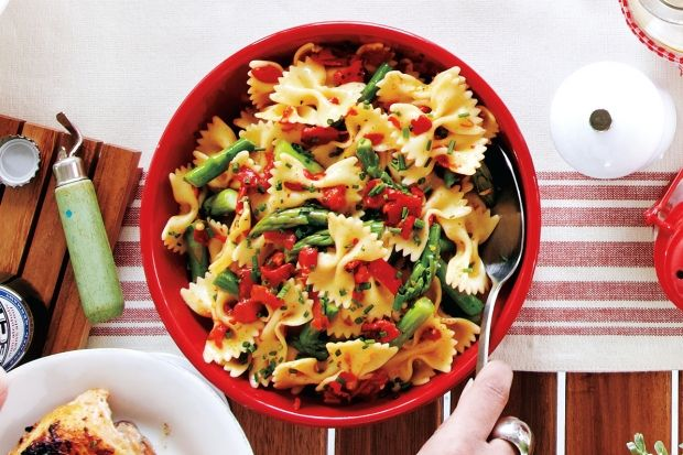 A bright vinaigrette makes this pasta salad the ultimate dish to serve at any summer party. The acidity of the lemon dressing mellows as it stands in the fridge, so this dish is actually better the next day.?