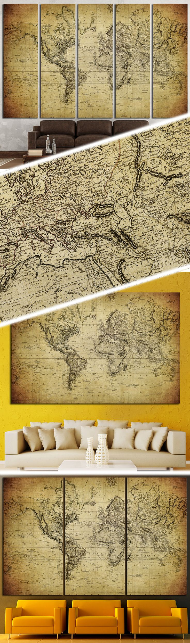 vintage map of the world 1324 Framed