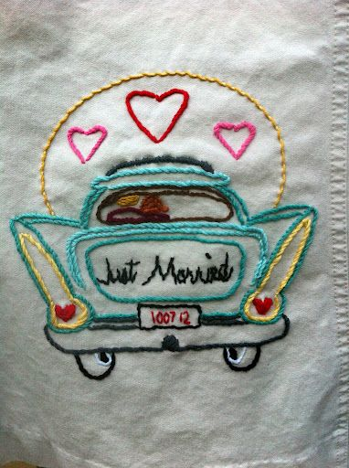 """Kitschy fun """"just married"""" dress embroidery for your honeymoon outfit 
