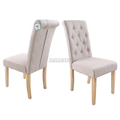 Westwood Cream Linen Fabric Dining Chairs Scroll High Back