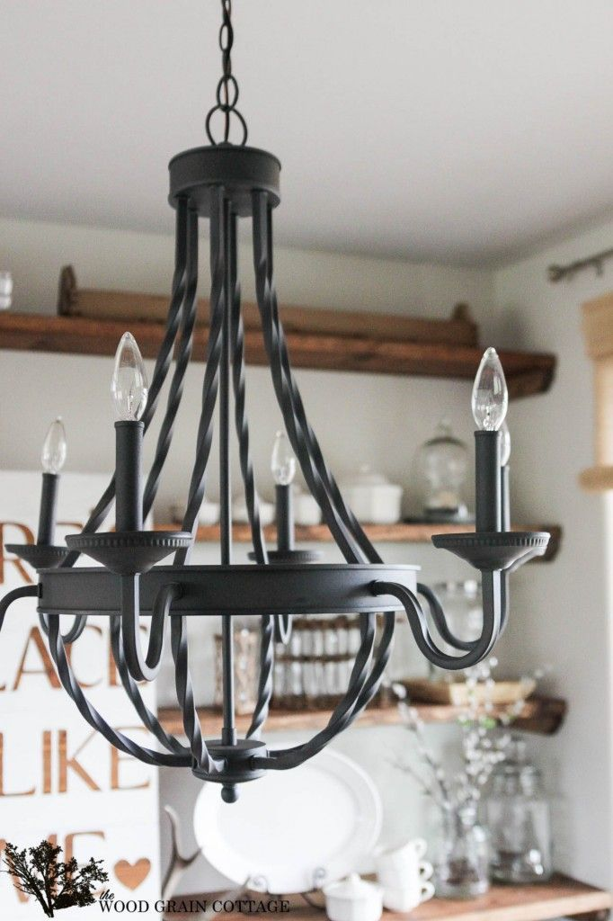 Farmhouse Home Decorating: @homedepot  Dining Room Light Fixture | The Wood Grain Cottage #homedepot #homedecor: