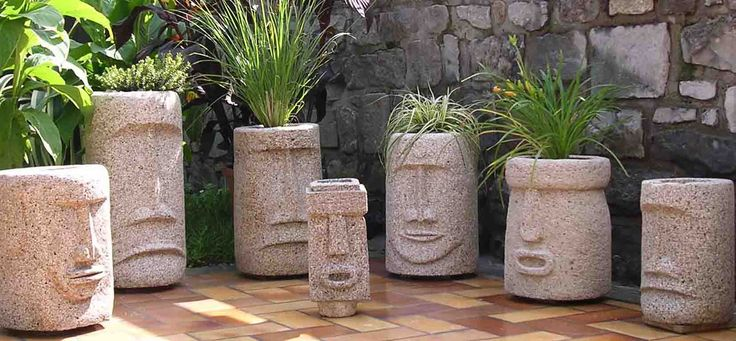hypertufa planter faces