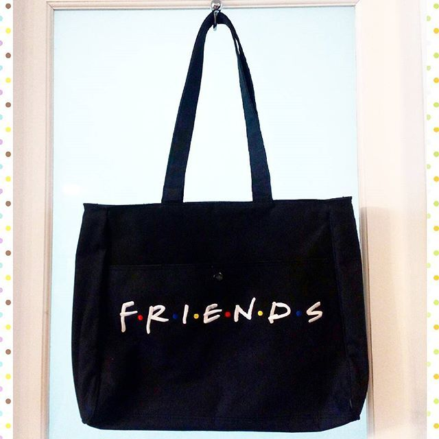 "Original vintage 90s ""Friends"" TV show black canvas embroidered tote bag, measures 16"" across by 14"" high by 4"" deep.  2 exterior pockets.  Please direct message if interested."