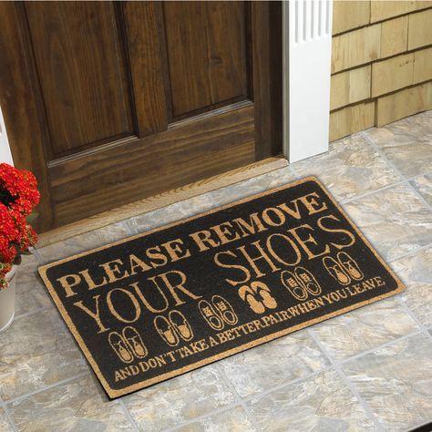 Please Remove your Shoes Coir Door Mat (18-Inchx30-Inch) (7004 Please Remove), Black