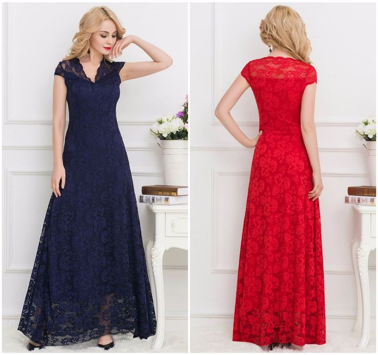 Sexy New Plus Sizes Women's Overlay Lace Formal Maxi Party Evening Dress M-2XL