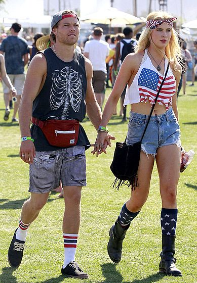 Coachella 2013: What the Stars Wore!: Slater Trout and Ireland Baldwin (flag trend)