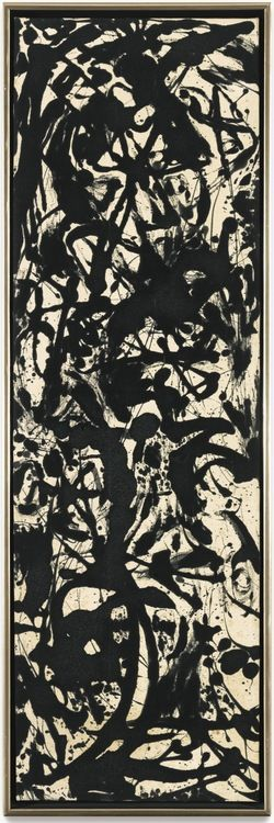 Jackson Pollock. So dark and so beautiful. This one presents more of a mystery than his larger more well known paintings.
