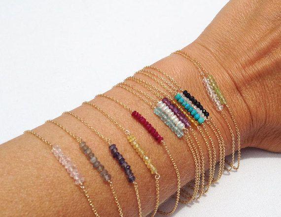 Pulseras de piedras preciosas delicadas, abalorios pulseras, pulsera de oro de la piedra, Bar grano pulsera, pulsera de piedras preciosas Bar, 14k llena de oro, plata