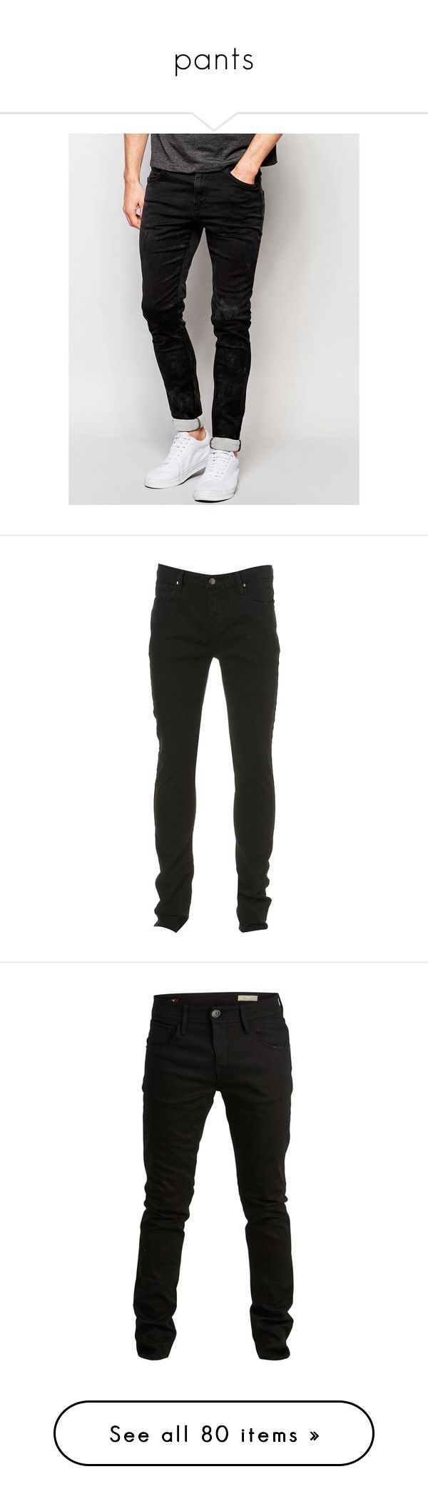 """pants"" by valentinsitems ❤ liked on Polyvore featuring men's fashion, men's clothing, men's jeans, black, replay mens jeans, mens super skinny jeans, mens dark wash jeans, mens skinny jeans, mens skinny fit jeans and jeans"