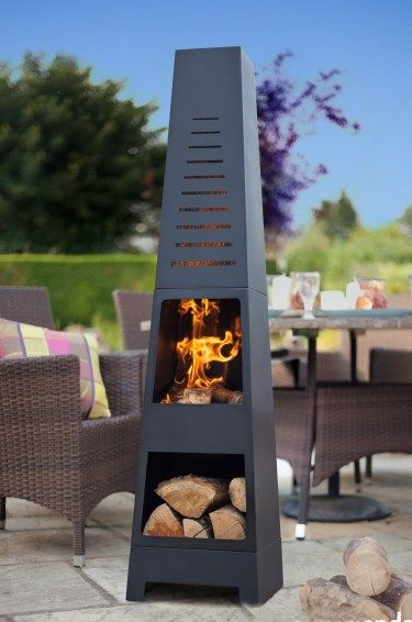 Modern Steel Chimenea with Laser Cut Out and Log Store