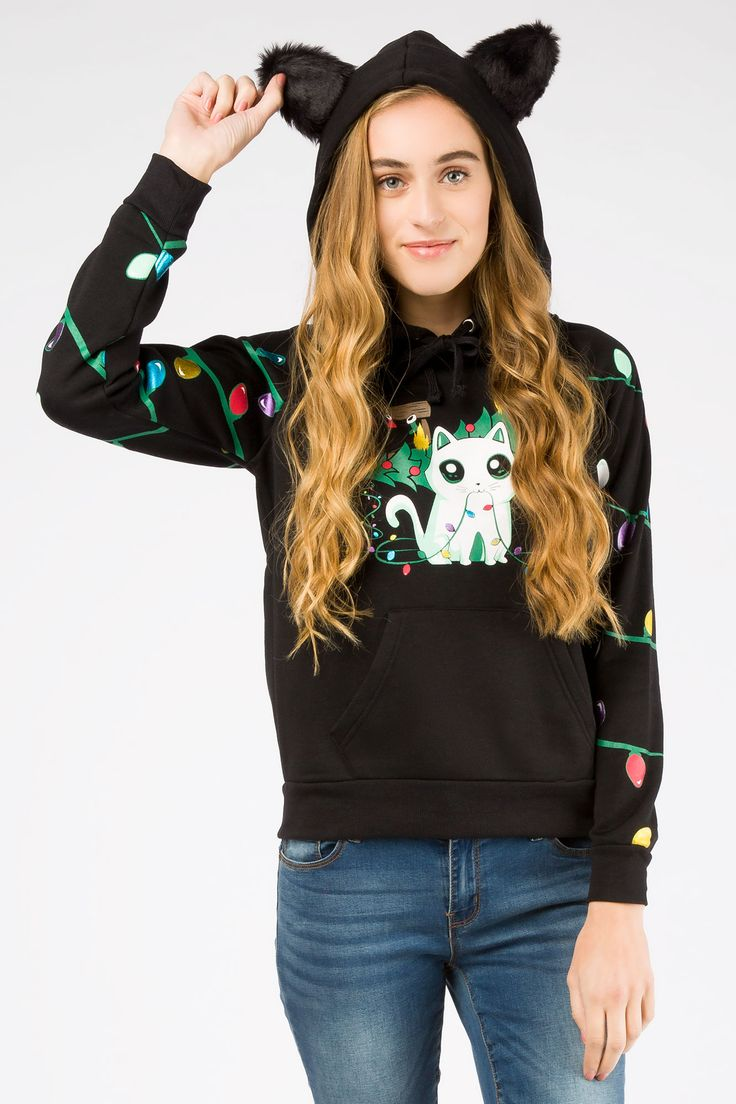 Girls Kitty Mischief Christmas Light Hoodie