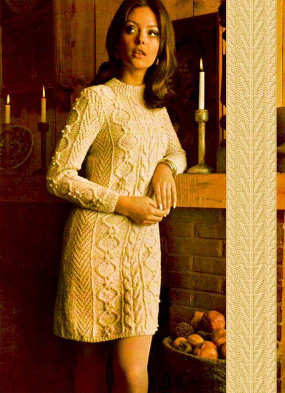 PDF Vintage Womens Ladies ARAN Dress Knitting Pattern Larger