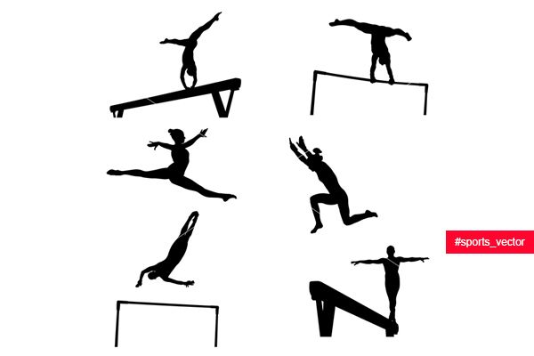 set female athletes gymnasts in artistic gymnastics silhouette  __  You can look…