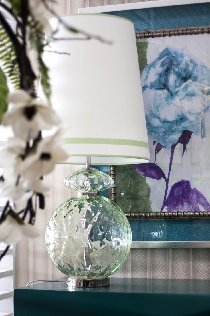 Table Lamp #PureLiving #GreenApple #GAhomestyle #homestyle #TableLamp #GreenWhite #shadeGlassGreen #glass