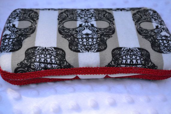 Black and White Skull Baby Diaper Wipe Case by AudgePodgeInc, $12.99