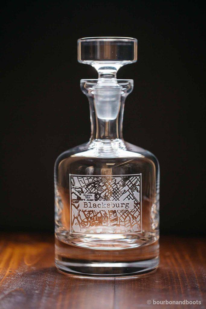 Blacksburg College Town Engraved Whiskey Decanter 115 College Town Whiskey Decanter Whiskey